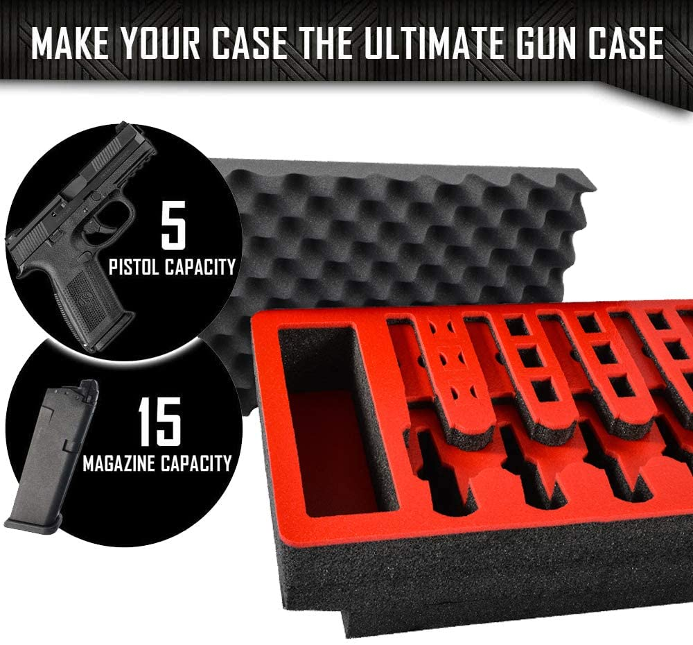 Arms Guard 5 Pistol Foam Insert for Pelican 1500 (FOAM ONLY) Removable fore-ledges accommodate most under-barrel attachments