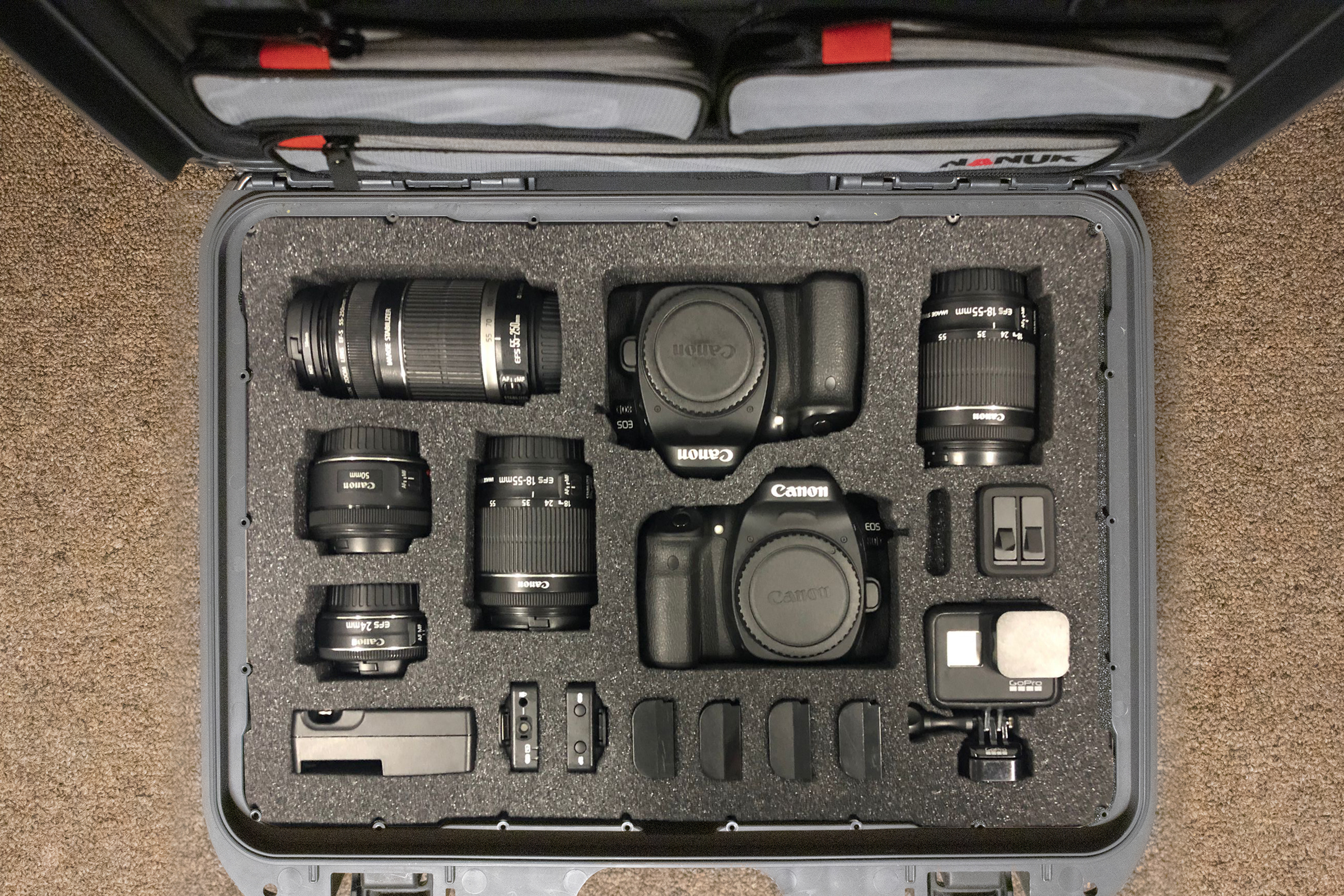 Nanuk 925 insert for 2X Canon 80D, GoPro Hero 8 and accessories10